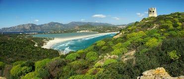 惊人的海滩横向villasimius 免版税图库摄影