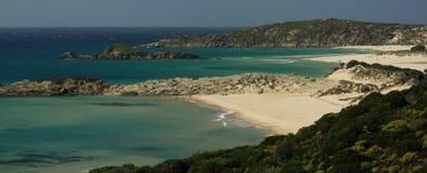 惊人的海滩chia撒丁岛视图 免版税图库摄影