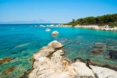 惊人的海滩希腊Sarti 免版税库存图片