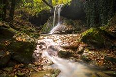惊人的瀑布在五颜六色的秋天森林-意大利里 免版税图库摄影