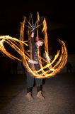 惊人的火展示舞蹈在晚上,社论, 26/02/2016 Castlefield曼彻斯特 免版税库存照片