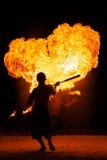 惊人的火晚上显示 免版税库存照片