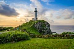 惊人的灯塔在海岛 库存图片