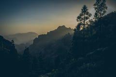 惊人的热带风景美丽的景色与山谷的在金黄晚上光的大开海上在日落 库存照片