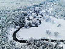 惊人的狂放的河在北部的冻结的森林真正地snowly冬天 空中全景 免版税库存图片