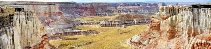 惊人的白色镶边砂岩在煤矿峡谷不祥在风琴城市,亚利桑那附近 库存照片