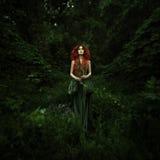 惊人的红发时尚妇女 免版税库存照片