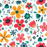 惊人的花卉花的传染媒介无缝的样式 库存图片