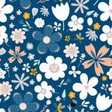 惊人的花卉花的传染媒介无缝的样式 免版税库存照片