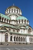 惊人的观点的大教堂圣徒亚历山大Nevski在索非亚,保加利亚 库存照片