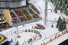 惊人的运动员两项竞赛竞争体育运动冬天 库存照片