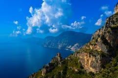 惊人的阿马尔菲海岸,意大利的难以置信的看法 免版税库存照片