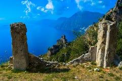 惊人的阿马尔菲海岸,意大利的难以置信的看法 免版税图库摄影