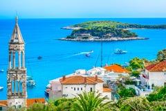 惊人的风景在克罗地亚,海岛赫瓦尔岛 库存照片