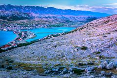 惊人的风景在克罗地亚,海岛Pag 免版税库存照片
