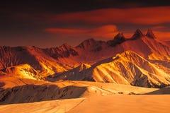 惊人的风景,列斯Sybelles,法国 库存图片