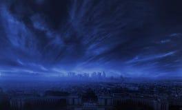 惊人的风暴照片在城市 免版税图库摄影