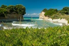 惊人的绿色海滩希腊科孚岛 库存照片