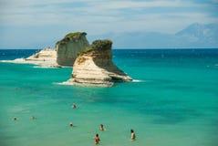 惊人的绿色海滩希腊科孚岛 图库摄影