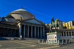 惊人的Piazza del Plebiscito,那不勒斯,意大利 库存图片