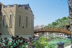 惊人美好豪华旅游胜地修造塑造了象站立在有桥梁和棕榈树的河的城堡 库存图片
