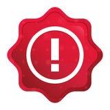 惊叹号象有薄雾的玫瑰红的starburst贴纸按钮 向量例证