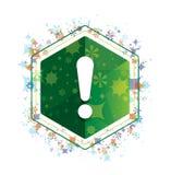 惊叹号象花卉植物样式绿色六角形按钮 库存例证