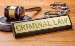 惊堂木和一个名字板极有板刻刑事诉讼法的 免版税库存照片