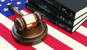 惊堂木和法律书籍在旗子3d回报 向量例证
