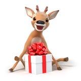 惊奇与礼物的一点动画片鹿 库存照片