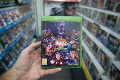 惊奇对在微软XBOX一控制台的Capcom无限计算机游戏 免版税库存图片