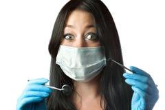 惊奇牙科医生眼睛女性查出的屏蔽 库存图片