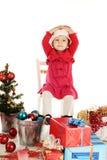 惊奇的圣诞老人女孩 免版税库存图片