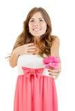惊奇的女孩接受在情人节上升了 免版税图库摄影