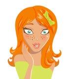 惊奇的女孩头发的红色 免版税图库摄影