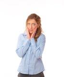惊奇的妇女年轻人 免版税图库摄影