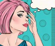 惊奇的妇女的流行艺术例证有讲话泡影的 流行艺术女孩 漫画书例证 流行艺术妇女 免版税库存照片