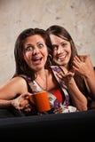 惊奇的妇女笑 免版税库存图片