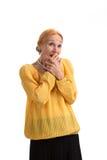 惊奇的妇女覆盖物嘴 库存图片