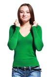 惊奇的妇女年轻人 免版税库存图片