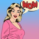 惊奇的妇女 愉快的女孩 女孩针 相当白肤金发 向量例证