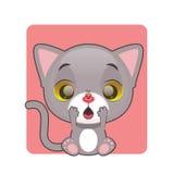 惊奇的逗人喜爱的灰色小猫 库存图片