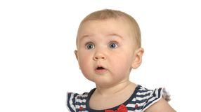 惊奇的逗人喜爱的婴孩 免版税库存图片