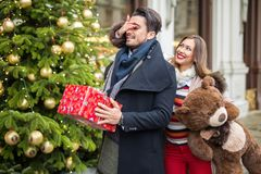 惊奇美丽的妇女为圣诞节或华伦泰boyfrined 免版税库存照片