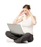 惊奇膝上型计算机妇女 免版税库存照片