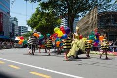 惠灵顿圣诞老人游行2015年,新西兰 免版税库存照片