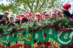 惠灵顿圣诞老人游行2015年,新西兰 免版税库存图片