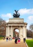 惠灵顿曲拱纪念碑在伦敦,英国 库存图片