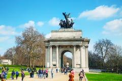 惠灵顿曲拱纪念碑在伦敦,英国 库存照片