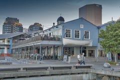 惠灵顿江边的,新西兰的北部海岛餐馆 库存图片